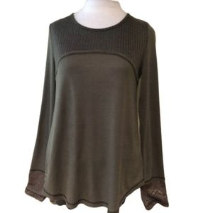 MISS ME Army Green Thermal Top Lace Back Design M